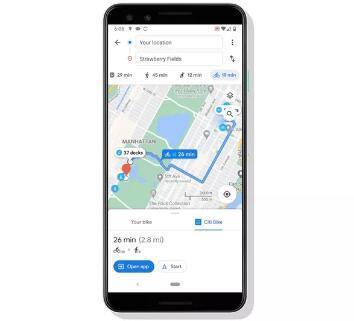 Google地图现在使用停靠的自行车共享方案显示自行车路线